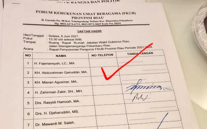 Legitimasi Rapat Pembentukan FKUB di Rumah Wagub Riau Dipertanyakan