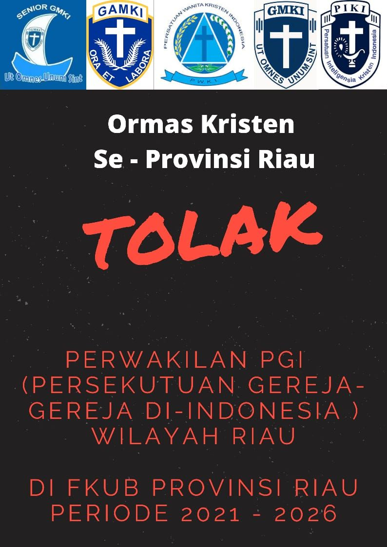 Ormas Kristen se-Riau Tolak Perwakilan PGI di FKUB Riau