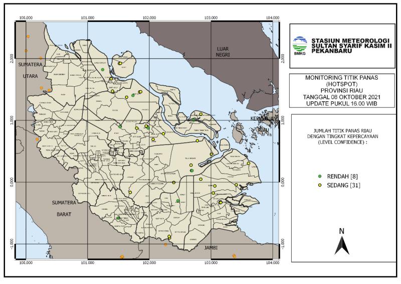 BMKG Pekanbaru : 39 Titik Hotspot Muncul di Riau