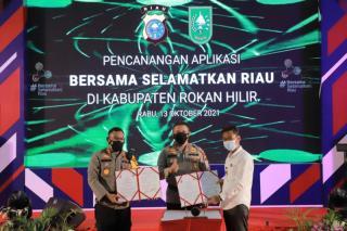 Kapolda Resmikan Aplikasi BSR Polda Riau, di Polres Rohil